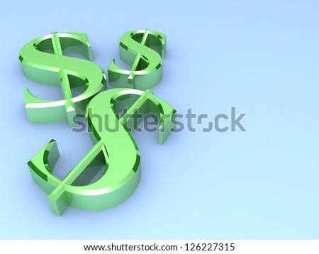 3d dollar sign on a blue background. Dollar concept with silver dollar symbols. Business concept. Illustration. - stock photo