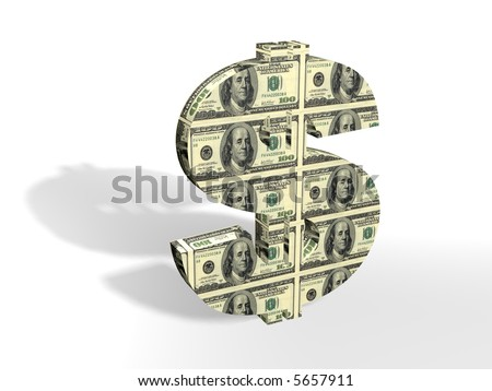 3D dollar sign painted into dollars note - stock photo