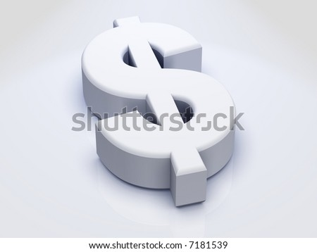 3D Dollar Sign sitting on slightly Reflective White surface - stock photo