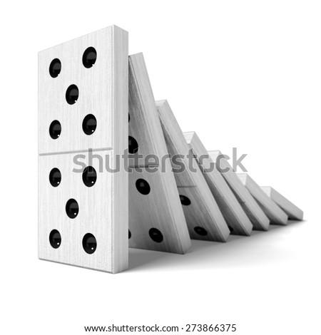 3D. Domino, Domino Effect, Continuity. - stock photo