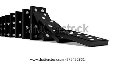 3D. Domino, Domino Effect, Falling. - stock photo