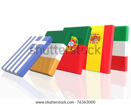 3D Domino effect in European country's flags   - isolated over  white background - stock photo