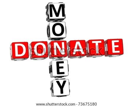 3D Donaate Money Crossword on white background - stock photo