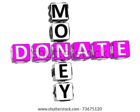 3D Donate Money Crossword on white background - stock photo
