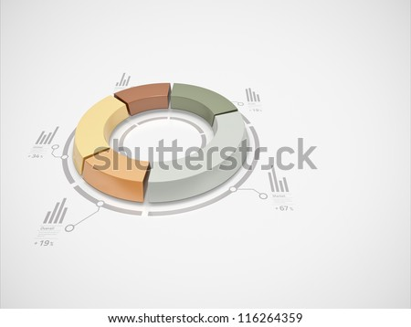 3d donut chart with numbers and symbols for business statistics and reports. - stock photo
