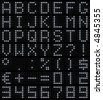 3D dot-matrix font (49 characters with real reflection, symbol size 500x500pt) - stock photo