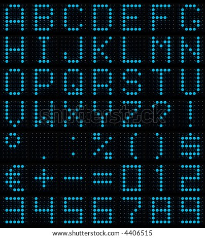 3D dot-matrix font (49 characters with real reflection, symbol size 500x500pt)