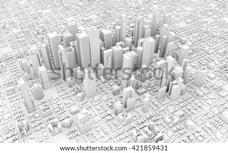 3d downtown white business downtown - stock photo