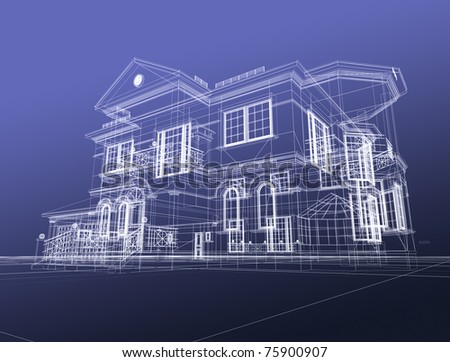 3d draw house - stock photo