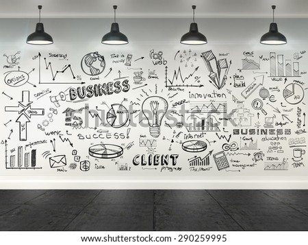 3d drawing business concept on wall in room - stock photo