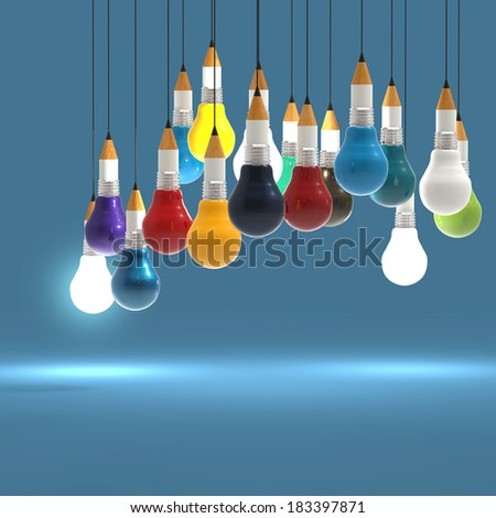 3d drawing idea pencil and light bulb concept creative and leadership as concept  - stock photo