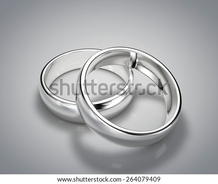 3D drawing realistic silver ring set 1