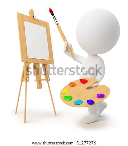 3d drawing small people with an easel, paints and a brush. 3d image. Isolated white background. - stock photo