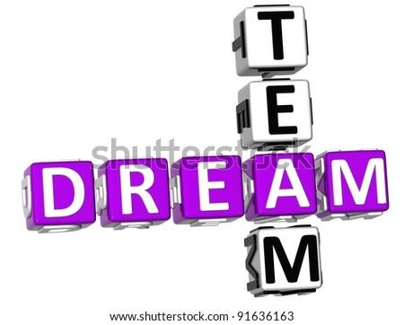 3D Dream Team Crossword on white background - stock photo