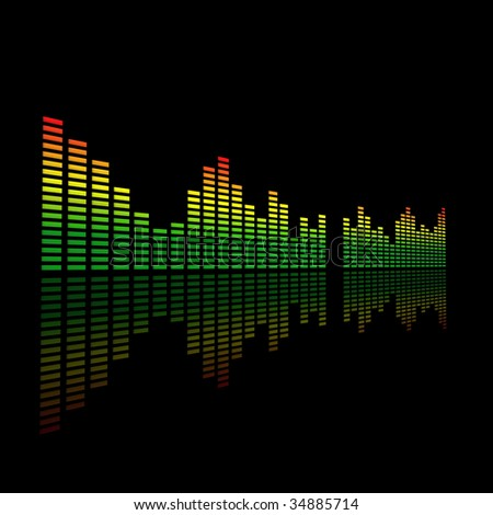 3D Dual Audio Led Level Meter - stock photo