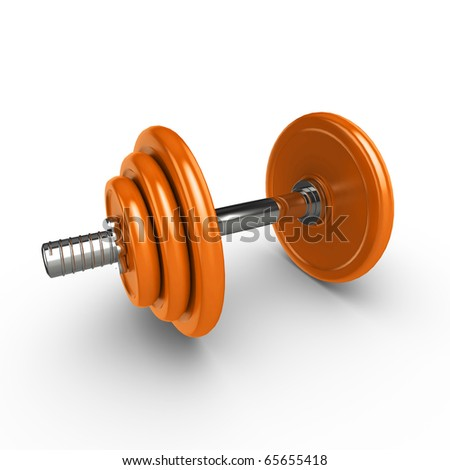 3d dumbell weights, isolated on a white background with subtle shadow - stock photo