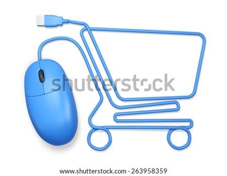 3D. E-commerce, Shopping Cart, Home Shopping. - stock photo