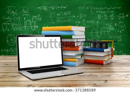 3d e-learning, education concept - stock photo