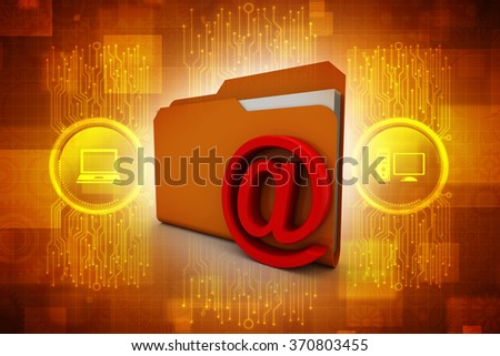 3d e-mail in Folder - stock photo