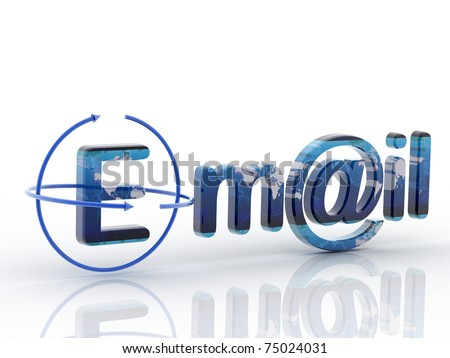 3D e mail render in white background - stock photo