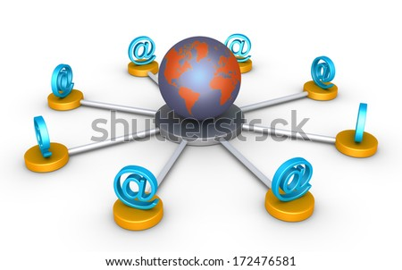 3d e-mail symbols are connected around the globe - stock photo