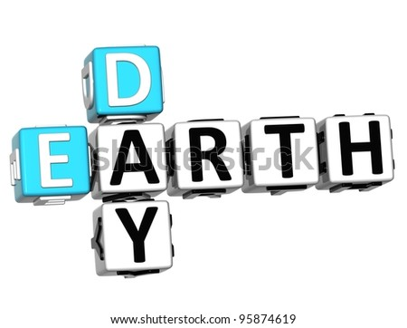 3D Earth Day text Crossword on white background - stock photo
