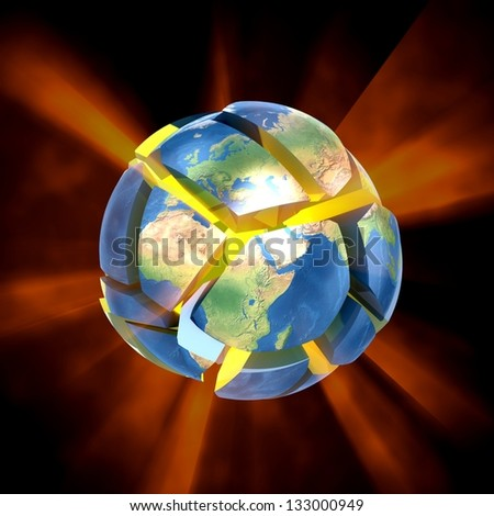 3D Earth explode. 3d Elements of this image furnished by NASA. - stock photo
