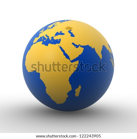 3d Earth globe -  Africa and Europe. 3d render