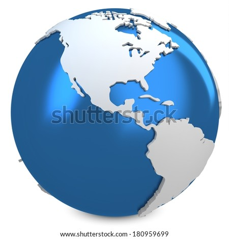 3d earth globe blue on white background - stock photo