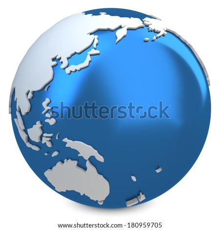 3d earth globe blue on white background