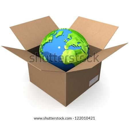 3d Earth globe in box - stock photo