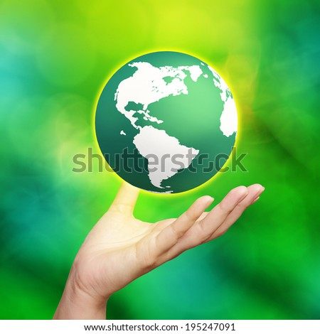 3d earth globe in his hands  - stock photo