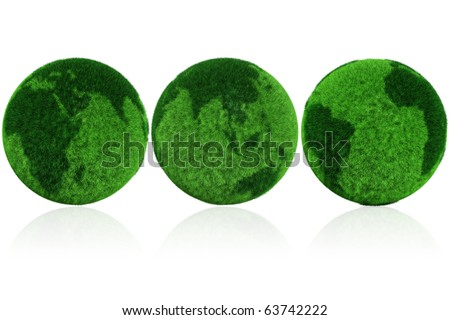 3d earth globe made of grass