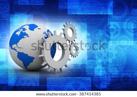 3d earth globe with gear - stock photo