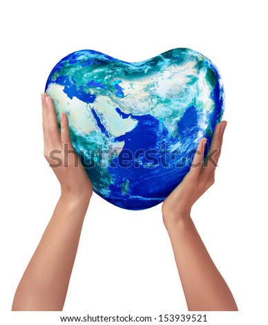 3d earth heart in hands on a white background