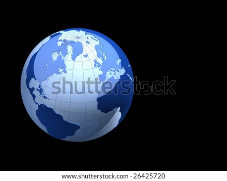 3d earth isolated on black background