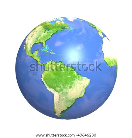 3d Earth. Isolated over white