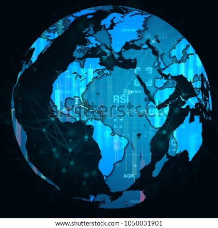 3d earth map digital technology background