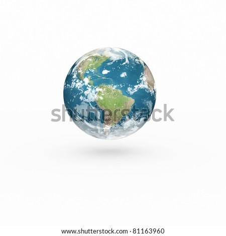 3D Earth model on white background with shadow. - stock photo