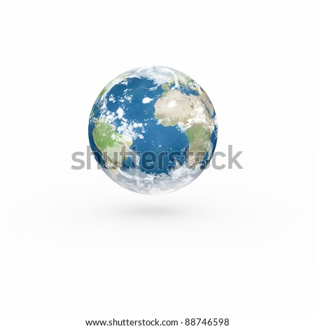 3D Earth model on white background with shadow.