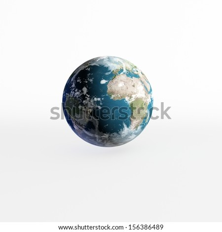 3D Earth model on white. Elements of this image furnished by NASA. - stock photo