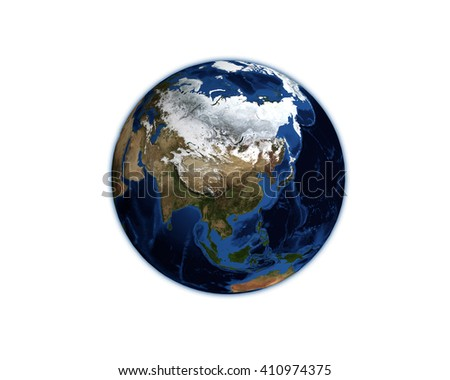 3D, Earth model planet featuring the continent of Asia including China Japan Korea and India Thailand isolated on white.