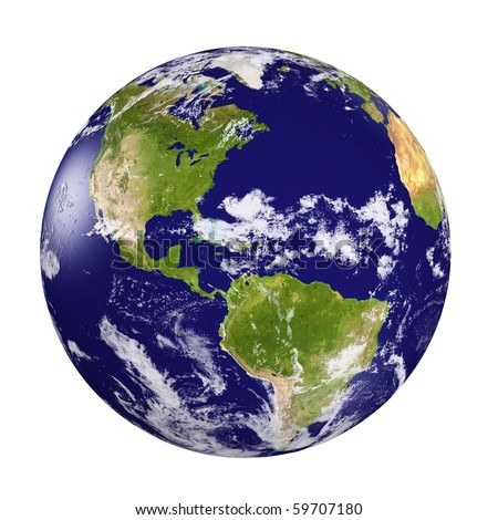 3d earth model with shaded relief and  clouds cover. - stock photo