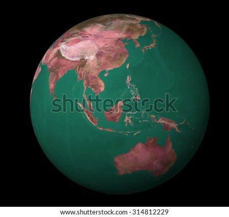 3d earth on a black background - stock photo