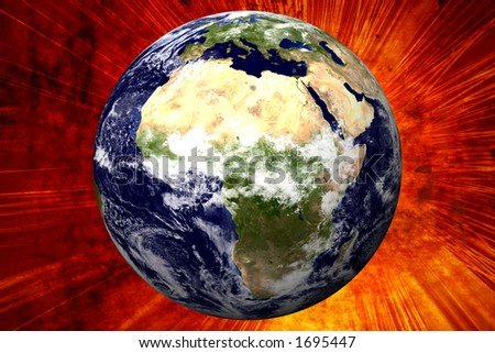 3D Earth on Explosion Background - AFRICA - stock photo