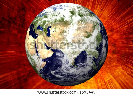 3D Earth on Explosion Background - Mid East - stock photo