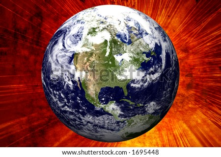 3D Earth on Explosion Background - USA - stock photo