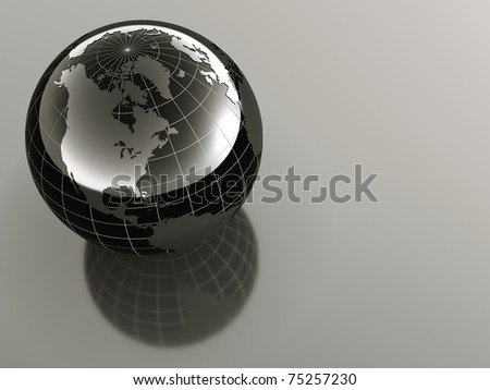 3d earth on reflective background - stock photo