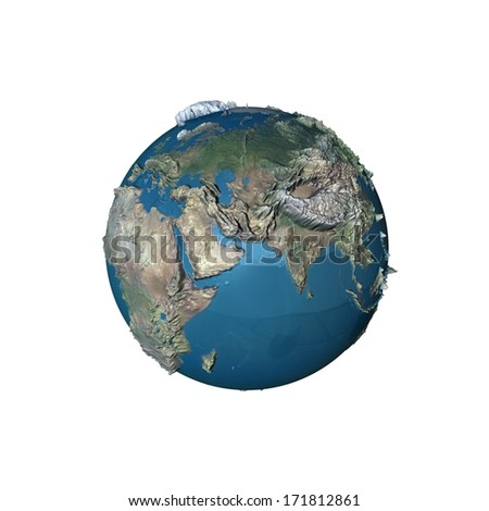 3d earth planet globe render - stock photo