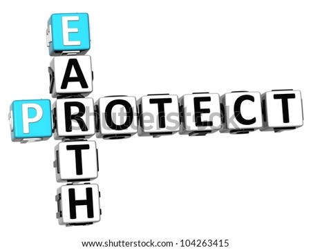 3D Earth Protect Crossword on white background